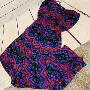 {EXPRESS} Strapless Aztec Print Wide Leg Jumpsuit